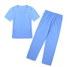 Unisex Medical Doctor Nursing Scrubs Uniform 2 Piece Suits Shirt Pants Workwear