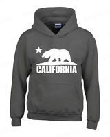 California Bear White Hoodie Cali Souvenir State Map Republic CA Sweatshirts