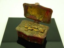 Vintage Buddha Buddhist Pottery Metal Glass Hand Painted Traveling Altar Box