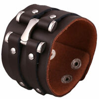 Men's Punk Wide Genuine Leather Big Buckle Rivet Cuff Wristband Bracelet Bangle