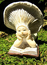 "Mushroom Baby Reading Resin Figurine Fantasy ""Fairy Garden"""