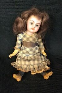 "Antique Porcelain Bisque Kramer Reinhardt Doll 5"" original Untouched Glass Eyes"