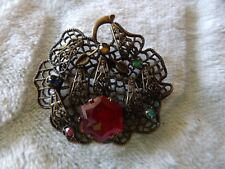 Stamped Filigree Gurtler Coop Brooch Sm53 Art Deco Gablonz Multi Glass Czech