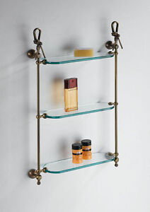 Bathroom Accessories Hanging Glass 3 Shelves Italian Product Classic Brass Knots
