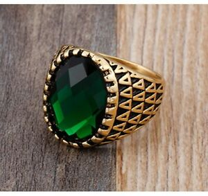 Retro Men's Emerald Wedding Ring Stainless Steel Punk Biker Jewelry Signet Ring