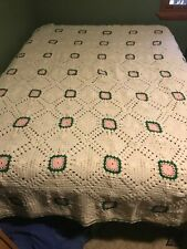 Queen Sized Green White Pink Crochet Afghan Bed Spread