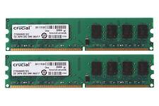 4GB 2x 2GB Crucial 2GB PC2-6400 DDR2 800MHz DIMM Desktop Computer Memory Ram