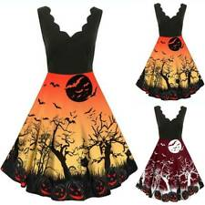 Women Adult Halloween Sleeveless Dress Fancy Gothic Party Witch Cosplay Costume