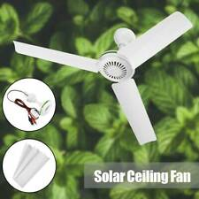 Usa Portable 12V 20'' Solar Ceiling Fan 3 Blade Caravan Camping with Switch 6W