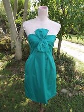 NWT J. Crew Sz 2 Green Strapless Twisted Bow Dress Cotton Above Knee NEW Flirty
