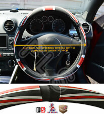 UNIVERSAL FAUX LEATHER STEERING WHEEL COVER BRITISH FLAG BLACK/RED-Austin