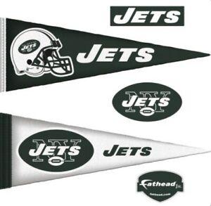 "NEW YORK JETS 4 pc. FatHead Jr Wall Decals Stickers 14""x38"" NFL Pennants Set"