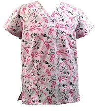Womens Fashion Medical Nursing Scrub Tops Breast Cancer Ribbon of Hope S