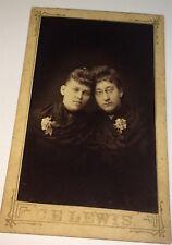 Antique Victorian American Miniature Portrait, Two Ladies! Glasses Small Photo!
