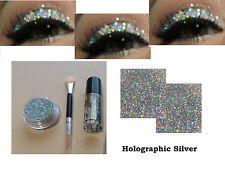 Holographic Silver Glitter Eyeshadow Fix Gel Pot Brush Eyes Make up Eye Shadow