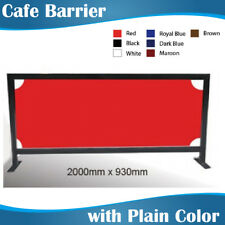 2m wide Black Square Tube Cafe Barrier Coffee Barrier with Plain Colour Banner
