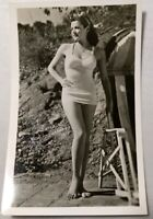 Actress RPPC Gene Tierney Real Photo Post Card Vtg Sexy Pin Up Leg Swimsuit Feet
