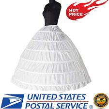 6-hoop Hoops Petticoat White Bridal Crinoline Petticoats Slips Underskirt NEW