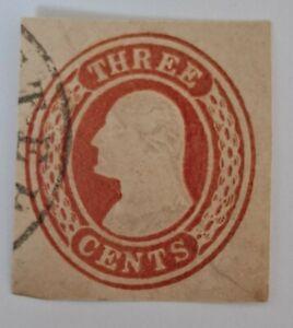USPS U5 Washington Three Cent 1850s Nesbitt on white Paper cut square stamp