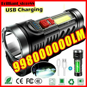 10000000LM Super Bright Torch Powerful LED Flashlight USB Rechargeable Light New