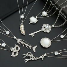 Double layer Fashion Crystal Pendant Metal Long Sweater Chain Necklace Jewelry