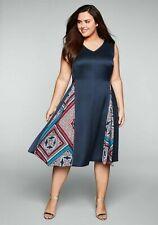 Sheego Kleid 50+52 blau rot Abendkleid festlich Cocktailkleid Paisley Knielang