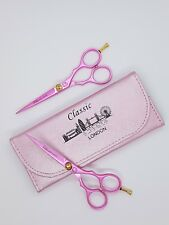 "CLASSIC pink professional hairdressing hair cutting barber scissor 5.5"" pouch"