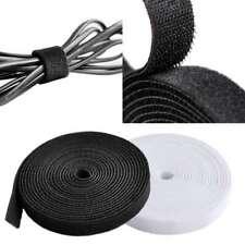 1/5Yard Nylon Reusable Hook Loop Tape Reel Cable Tie Wraps Straps Black/White HC