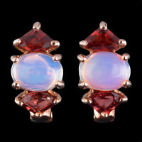 100% NATURAL 8X6MM ETHIOPIAN OPAL RHODOLITE GARNET ROSE GOLD SILVER 925 EARRING