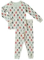 NEW M&S Boys Grey Skull Thermal Snuggle Pyjamas PJS Sleepwear