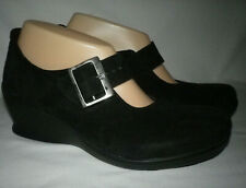 Wolky Black Suede Leather Silver Buckle Mary Jane Wedge Sz 38 UK  7.5 US