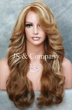 HEAT SAFE side open curls Wavy Lace Front Wig Long Blonde Orange mix  POQ 2216