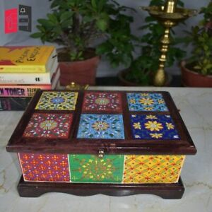 Wooden Hand Painted Mughal Art Chest Box (MADE TO ORDER)