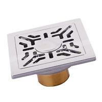 Stainless Steel Sqaure Floor Bath Wet Room Shower Drain Vertical Outlet #2