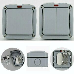 1/2 Gang Single Double Light Switch Waterproof IP66 Outdoor Garden Weatherproof