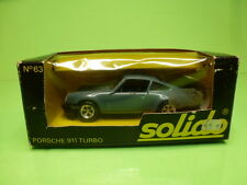 SOLIDO 63 PORSCHE 911 TURBO - METALLIC BLUE/GREY 1:43 - GOOD CONDITION IN BOX