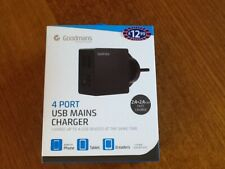 New black 4 Port USB mains charger
