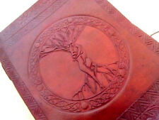Handmade Leather Journal Diary Embossed Notebook Wicca Male Female Sketchbook8x6