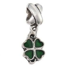 LUCKY GREEN CLOVER Dangle Spacer Bead European Charm for Bracelets Necklaces