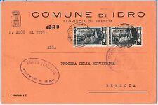 REPUBBLICA - Storia Postale: ANNULLO MUTO EMERGENZA su BUSTA da  IDRO 1951