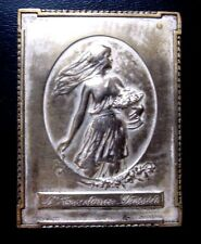 French Souvernia 1914-1915 / Lady with Roses / 46 mm x 61 mm Bronze Medal / N116
