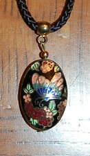 VTG Cloissonne Oval Pendant Necklace Black Rope Chain Butterfly and Flowers