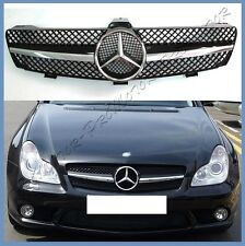 For W219 04-08 M Benz CLS550 CLS500 CLS350 Chrome Front Grille Mesh Gloss Black