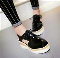 Fashion Women Wedge Lace Up Sandals Slingback High Platform Oxford Creeper Shoes