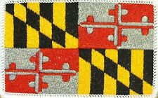 MARYLAND STATE Flag Patch With VELCRO Brand Fastener WHITE Border #06