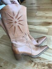 Keneth Cole Cowboy Leather Camel leather Boots Size 38.5 Made in Italy