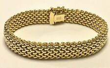 14K Gold Bracelet Mesh Chain OTC Italy 18 gms Yellow Open Box Security Clasp