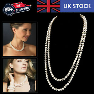 120cm Long White Pearl Necklace Bead Rope Chain Vintage Wedding Bridal Party UK