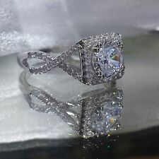 Ring 925 Silver . Size 9 Princess Cut Halo 2.5ct Infinity Engagement Style