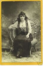 Real Photo Postcard RPPC - Woman Long Hair Wicker Chair